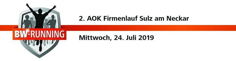 2. AOK Firmenlauf Sulz am Mittwoch, 24. Juli 2019 - Start: 18.30 Uhr - Albeck-Stadion